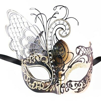 Black/Gold Glitter Beautiful Butterfly Women Masquerade Mask Halloween Mask