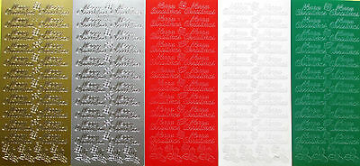 MERRY CHRISTMAS PEEL OFF STICKERS Type 2 Holly Leaves Presents Script Cardmaking