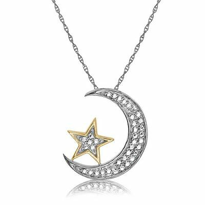 14K White Gold Finish Round Cut Natural Diamond Star & Moon Necklaces & Pendant