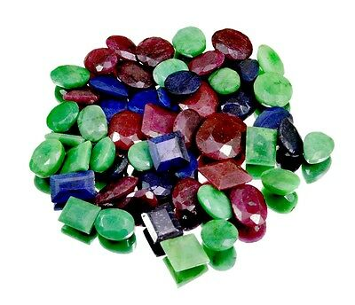 500ct / 54pcs Natural Emerald Sapphire Ruby Ring Size Gemstone Wholesale Lot