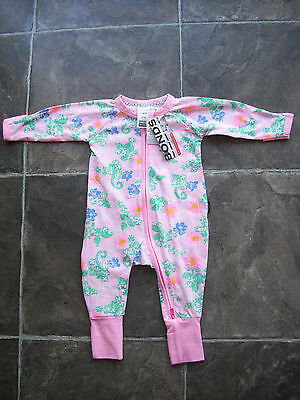 BNWT Baby Girl's Bonds Pink Floral Zip Wondersuit/Romper/Coverall Size 000