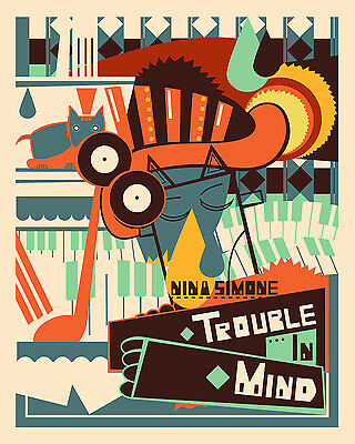 0309 Vintage Music Poster Art - Nina Simone Trouble In Mind