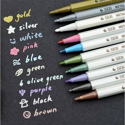 Clearance 10 Colors Ink Metallic Marker Pen Scrapbook DIY Card Making Stationery