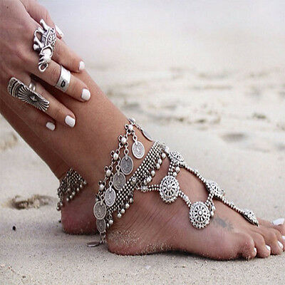 Sexy women  Antique Silver Turkish Coin Anklet Ankle Bracelet Beach Foot Jewelry