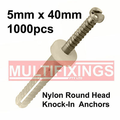 5mm x 40mm Round Head Nylon Knock-in, Nail in Plug / Anchor-1000pcs