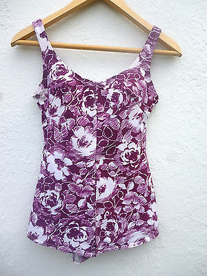 Vintage 60s/70s St Michael Skirt Detail Floral Pink Purple Swimming Costume 12
