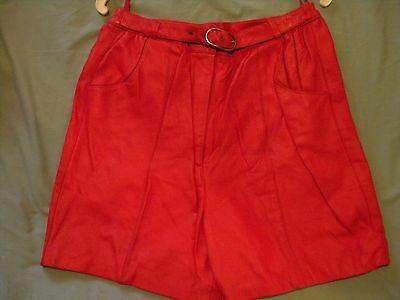 Vintage Women Real Leather Red Shorts Medium M Cool Retro Disco Throwback Old