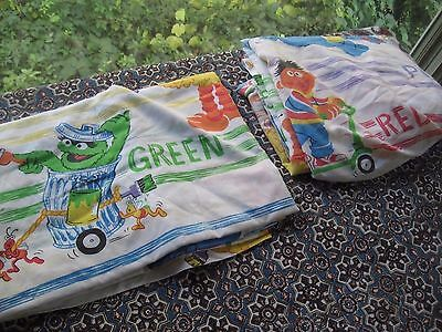 vintage sesame street COLORS twin fitted & flat sheet combo J.C. Penney fine