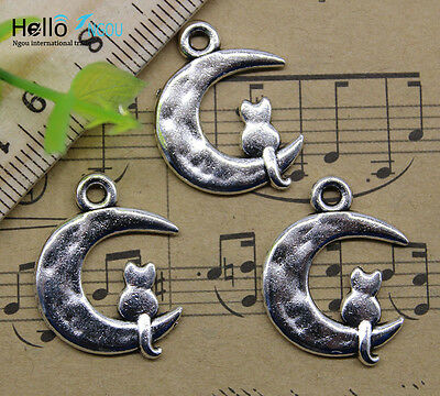 Wholesale retro style A cat on the moon alloy charms pendant DIY 23x18mm