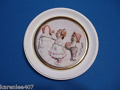"Capodimonte Wall Plaque Boy & Girl Framed ""Offering Flowers Bas Relief""  RARE"