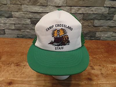 Vintage Boy Scouts Camp Crossland Staff Trucker Hat/Cap Mesh Snapback One Size