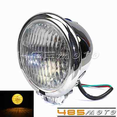 Cool Bates Style Front Light 4.5 inch Headlight Lamp For Harley Chopper Bobber