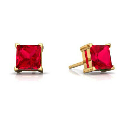 2 Ct Ruby Princess Cut Stud Earrings 14Kt Yellow Gold