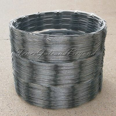 "Razor / Helical Barbed Wire Galvanized Steel 18"" 3 Coil 150 Feet Coverage"