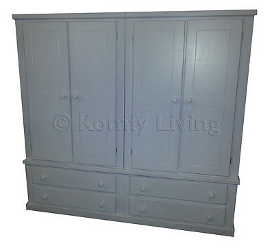 Handmade Painted Banbury Quad Wardrobe With Drawers - Assembled- Double Triple