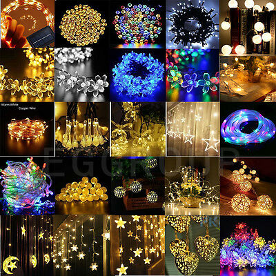 110V/220V/Solar/Battery Powered Outdoor Xmas Fairy String Lights 20-1000LED Bulb