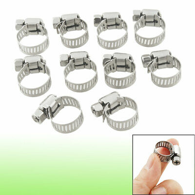 10pcs 9mm-16mm Adjustable Stainless Steel Worm Drive Hose Clamp