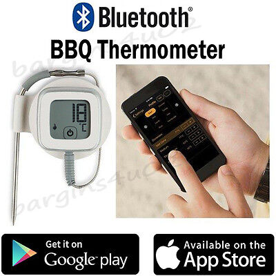 Bluetooth BBQ Thermometer Meat Cooking Grill Oven Roasting Food, App Driven- New