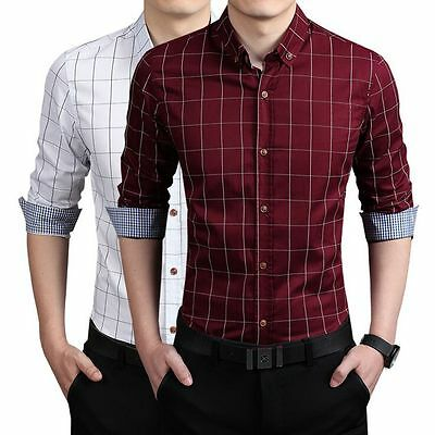 100% Cotton Men's Luxury Casual Fit Stylish Formal Dress Shirts Long Sleeve