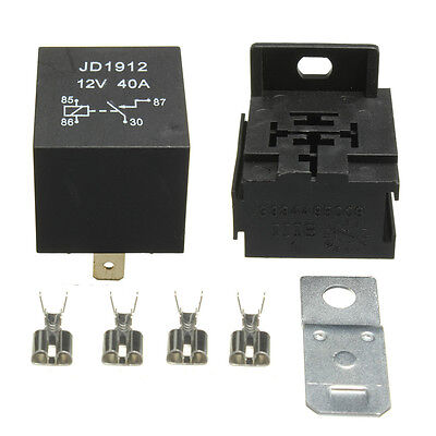 40A AMP 12V 4 Pin Relay Socket Terminals Car Moto RELE para Coche Barco ON/OFF