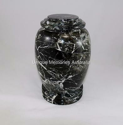 Solid Genuine Marble Black & White Design Adult Memorial Cremation Funeral Urn