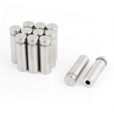 12 Pcs Silver Tone Stainless Steel 12mm x 40mm Advertising Nail Class Standoff