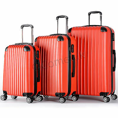 3Pc Hard Shell Wheels Spinner Cabin Trolley Luggege Bag Travel Suitcase Hand Set