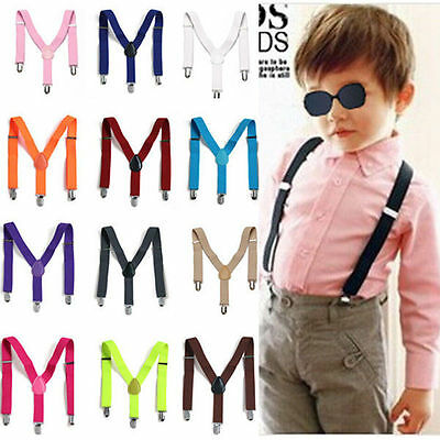Unisex Kids Boy Adjustable Slim Trouser Braces Suspenders Belt Multi Colors
