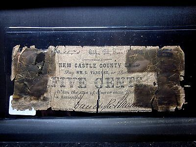 1862 5C Obsolete Bank-Note ✪ New Castle County Bank ✪ W.m.s. Vandyke  ◢Trusted◣