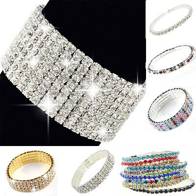 Bling Crystal Diamante Rhinestone Elastic Bridal Bracelet MultiRows Women Bangle