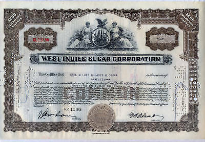 West Indies Sugar Corporation Stock Certificate Brown