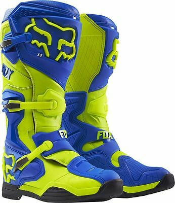 Fox Racing NEW 2017 Mx Comp 8 Adult Enduro Dirt Bike Yellow Blue Motocross Boots