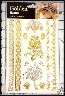 Big Size Metallic Tattoos Color Gold Silver Temporary Jewelry Flash Tattoo US SH