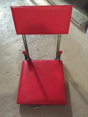 Vintage Red Vinyl Folding Stadium Bleacher Seat Boat Chair With Clamp