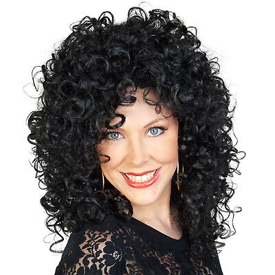 Cher Wig 80s Music Star Black Curly Shoulder Length Womens Fancy Dress Costume