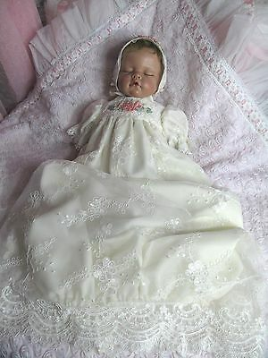 Ivory Embroidered Gown for Newborn/Reborn Baby