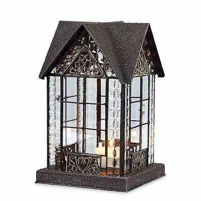 Glass and Metal Architectural Candle Lantern - Bronze-Tone Devonshire House