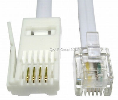 15m BT Phone Plug to RJ11 4 Pin Cable Telephone Modem Straight / Wired WHITE