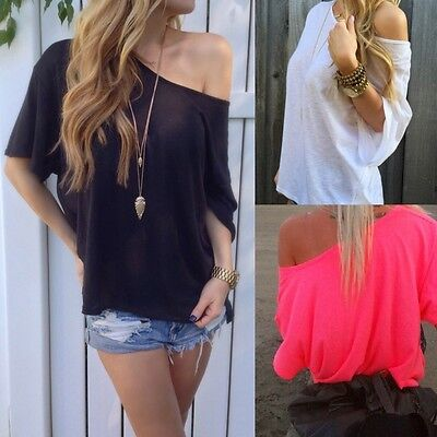 Summer Sexy Women Oblique Off Shoulder Tops Loose Batwing Sleeve T-Shirt Blouse
