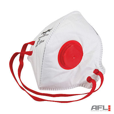 2 Pack FFP3 Respirator Fold Flat Valved Safety Face Dust Masks - 50x Protection