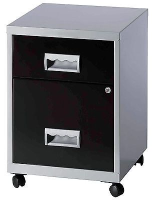 Pierre Henry Combi two-drawer mobile A4 filing cabinet silver and black