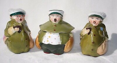 Antique GERMAN Porcelain Salt Pepper Mustard Jar Condiment Set FIGURAL WHIMSICAL