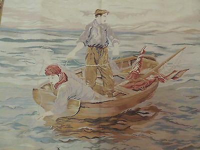 French 3x5 Design Tapestry boy on fishing boat Oriental Area Rug Wall Hanging