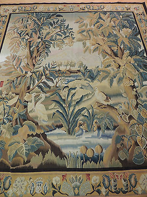 French Tapestry Oriental Area Rug/Carpet 6x9 Wall Hanging Birds Garden