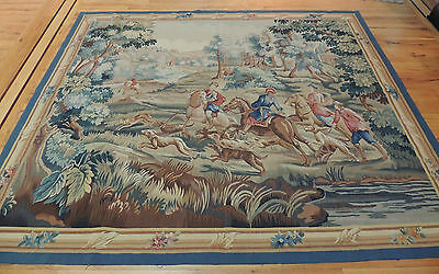 French Tapestry Oriental Area Rug/Carpet 6x9 Wall Hanging Hunting Horses Dogs