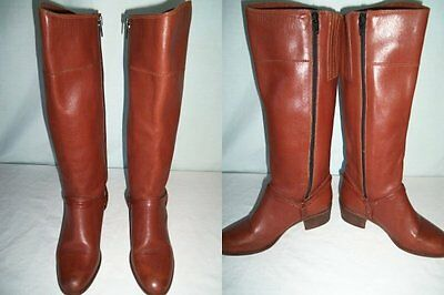 Vintage 70s Town Country Brown Leather Tall Knee Riding Harness Boots Zipper 6