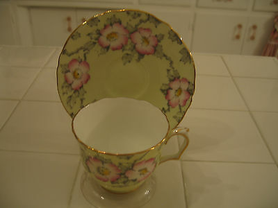 Crown Staffordshire Fine Bone China Cup And Saucer Yellow Pink Flowers England