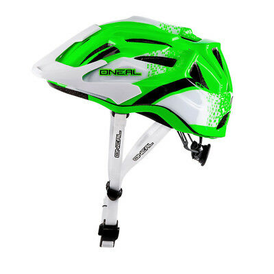 Oneal NEW Q Cycle White Neon Green Downhill Mountain Bike MTB BMX Bicycle Helmet