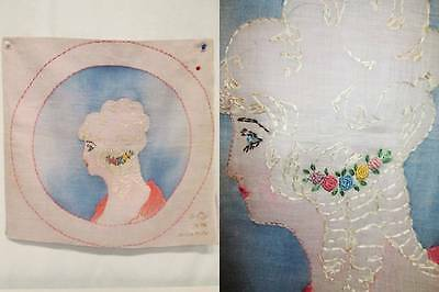 Antique Boudoir Pillow Cover Pillowcase Chalk Painted Organza Fabric Embroidery