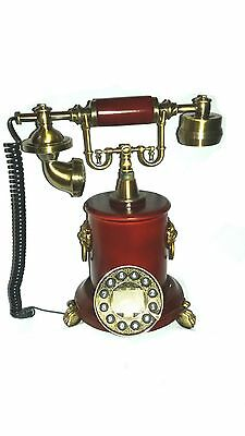 Antique style retro vintage wooden brass looking home telephone 2131